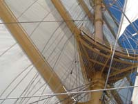 Sails up on board Royal Clipper